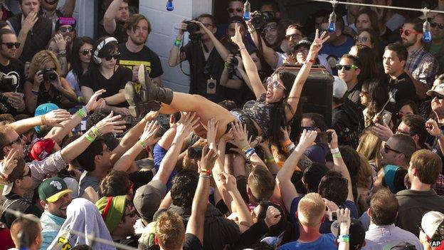 Crowds watch Lady Gaga at SXSW