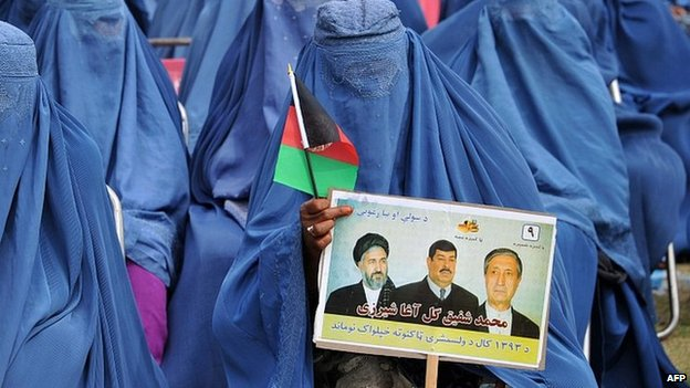 Afghan women at election rally in Jalalabad. 8 March 2014