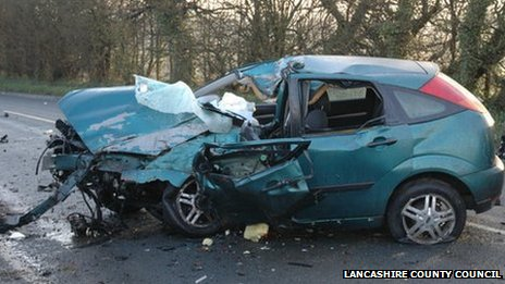 The car wreckage in which Daniel Birch died