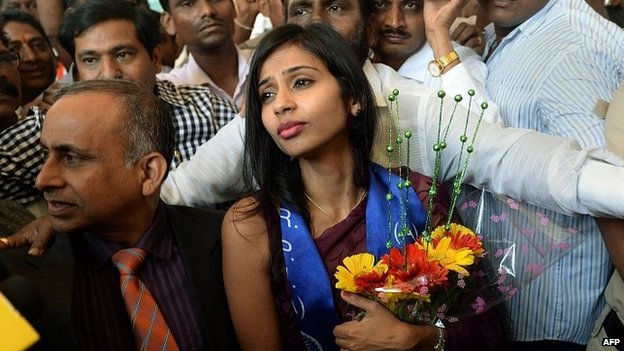 Devyani Khobragade arrives in Mumbai. 14 Jan 2014