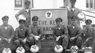The original Red Arrows team in 1965