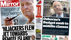 Composite image of the front pages of the Daily Mirror and the i on Saturday 15/03/14
