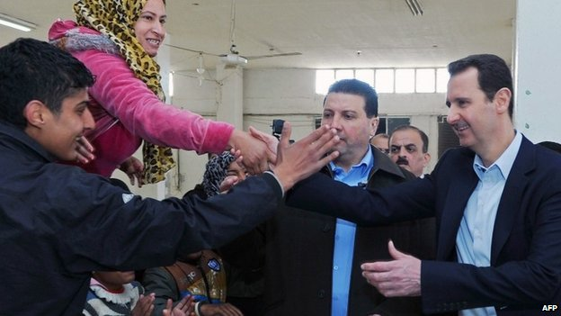 Bashar al-Assad visits Adra, Damascus (12 March 2014)