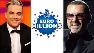 Robbie Williams (left) Euromillions logo and George Michael (right)