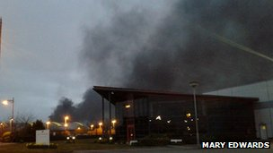 Smoke seen from Pride Park during fire at the Assembly Rooms in Derby