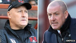 Leyton Orient boss Russell Slade and Brentford manager Mark Warburton