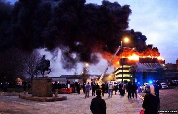 Fire as Assembly Rooms car park
