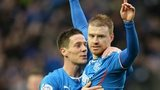 Ian Black congratulates Rangers scorer Stevie Smith