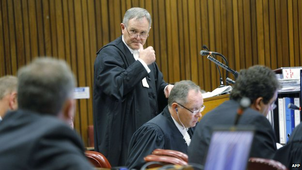 Lawyer of South African Paralympic athlete Oscar Pistorius, Barry Roux talks to the court during a hearing at the North Gauteng High Court in Pretoria (12 March 2014)