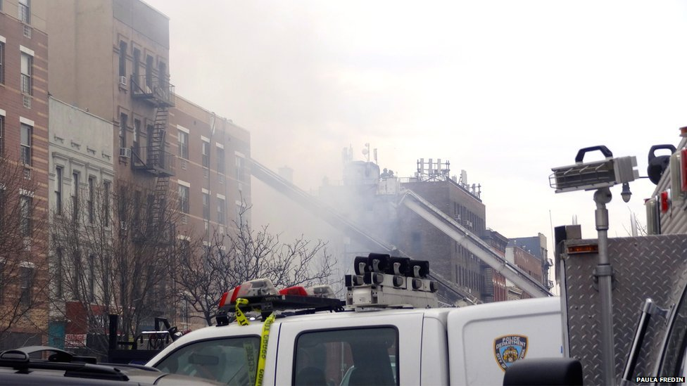 The emergency response to the building collapse in East Harlem. Photo: Paula Fredin