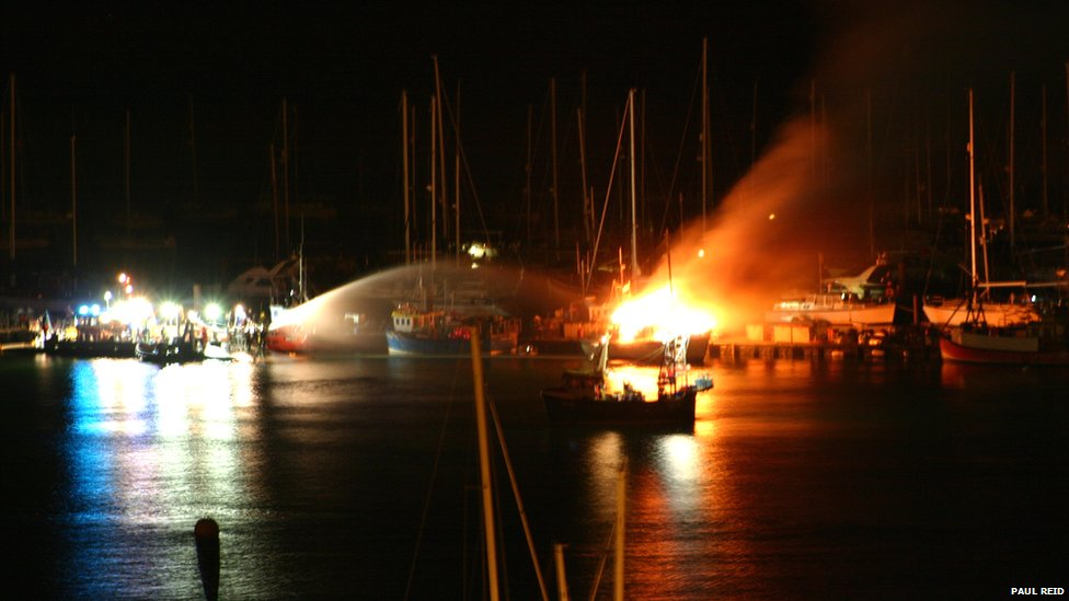 Fire in Dartmouth Harbour. Photo: Paul Reid