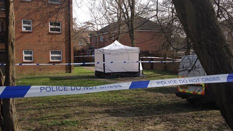 Scene where body was found near Peartree Lane