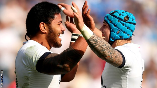 Manu Tuilagi (left) and Jack Nowell celebrate an England try