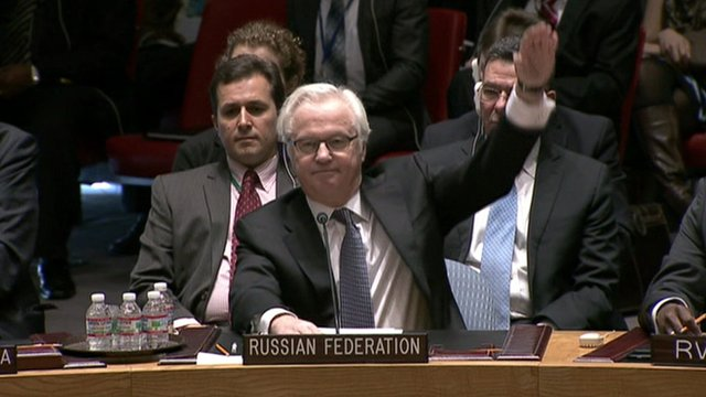 Russia votes to veto a draft UN resolution