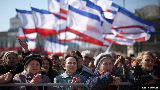 Pro Russian supporters rally in Lenin Square, Simferopol, March 15