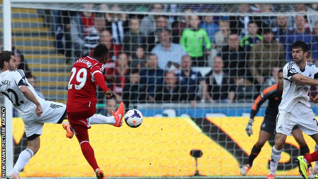 Stephane Sessegnon scores West Brom's equaliser against Swansea