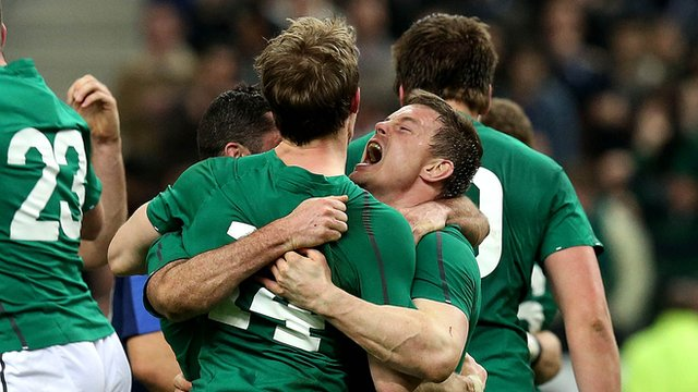 Andrew Trimble celebrates with Brian O'Driscoll after winning the Six Nations Championship