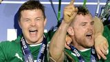 Brian O'Driscoll holds the Six Nations trophy