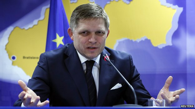 Slovakia's Prime Minister Robert Fico speaks at a news conference at the end of a European leaders emergency summit on Ukraine, in Brussels (6 March 2014)