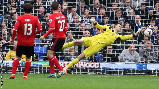 David Marshall in action against Everton