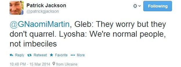 Gleb: They worry but they don't quarrel. Lyosha: We're normal people, not imbeciles