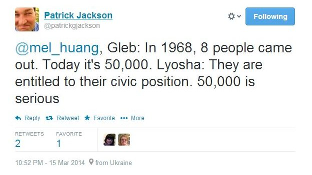 Gleb: In 1968, 8 people came out. Today it's 50,000. Lyosha: They are entitled to their civic position. 50,000 is serious