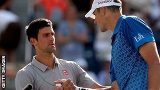 Novak Djokovic is congratulated by John Isner after beating him in their match in Indian Wells.
