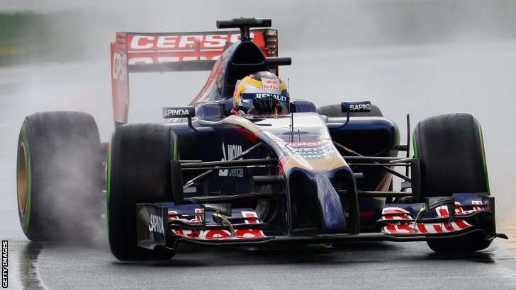 Jean-Eric Vergne slides though the rain in qualifying
