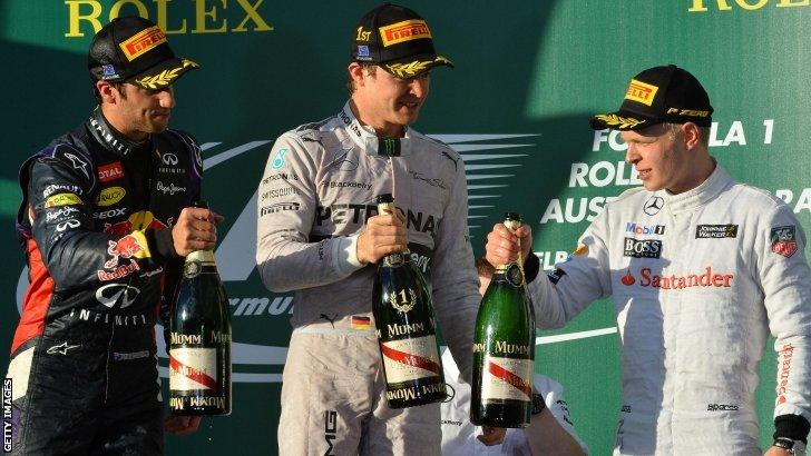 Daniel Ricciardo, Nico Rosberg and Kevin Magnussen