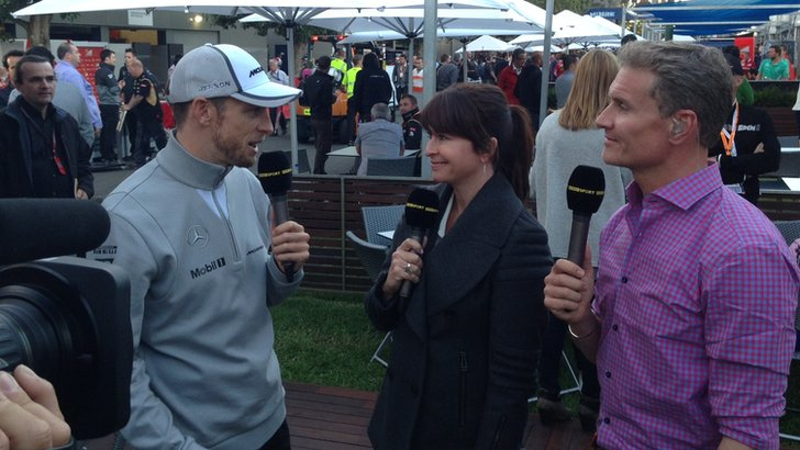 Jenson Button, Suzi Perry and David Coulthard