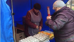 Egg vendor outside polling station in Simferopol (16 March 2014)