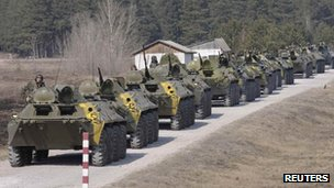 Ukrainian soldiers near Kharkiv (14 March 2014)