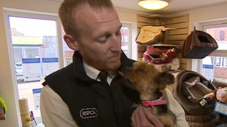RSPCA inspector Chris Shaw with Peanut