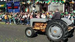 Tractor in St Patrick's Day parade