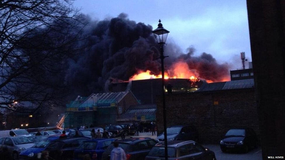 Fire at the Assembly Rooms in Derby. Photo: Will Hives