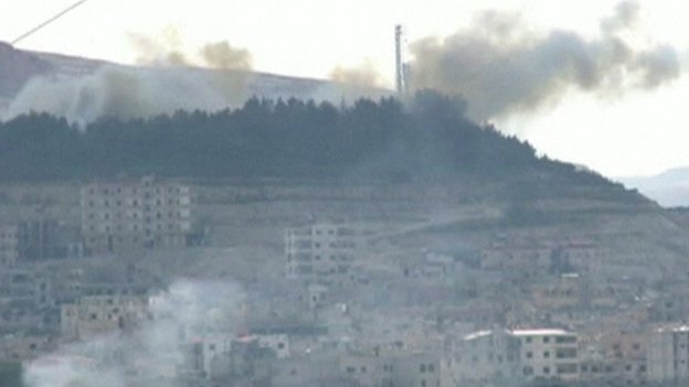 Yabroud TV grab from pro-Syria government TV station based in Beirut, dated 15 March