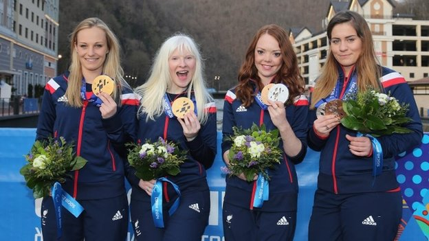 British Paralympic skiing medallists Charlotte Evans, Kelly Gallagher, Jade Etherington and Caroline Powell