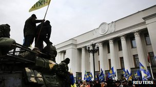 Ukraine's president fled Kiev after three months of protests and a new government has taken over