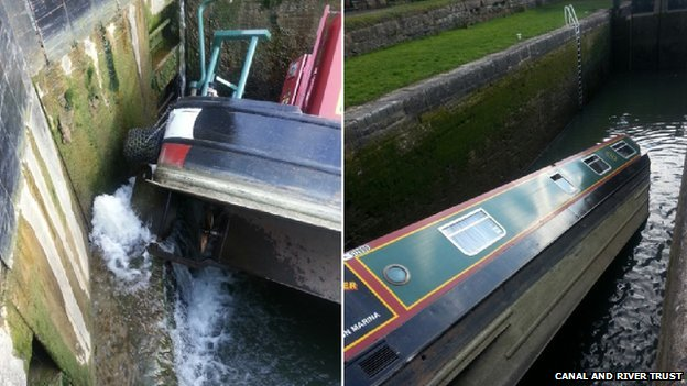 Capsized narrow boat