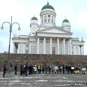 Protestors in Senate Square, Helsinki. Photo: Matt Morelli