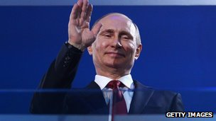 Russia President Vladimir Putin waves during the Sochi 2014 Paralympic Winter Games Closing Ceremony at Fisht Olympic Stadium on 16 March  2014 in Sochi