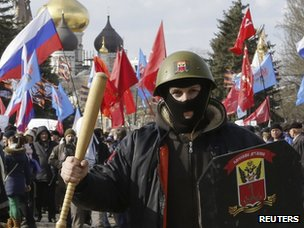 Demonstrators take part in a pro-Russian rally in Odessa on 16 March 2014.