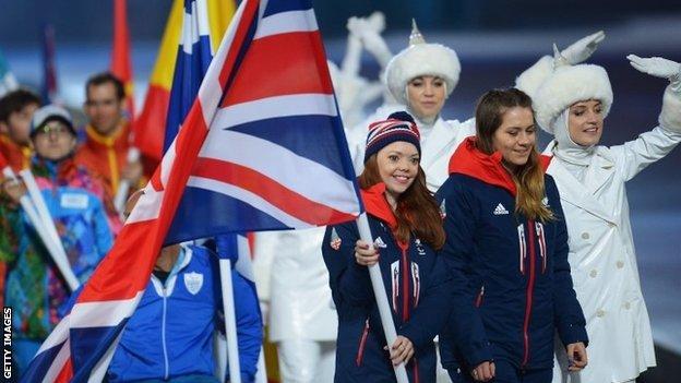 Jade Etherington and Caroline Powell enter the Paralympic closing ceremony
