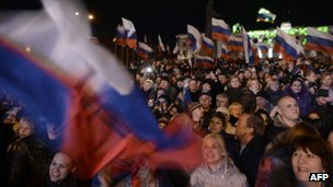 Pro-Russian Crimeans gather to celebrate in Simferopol's Lenin Square on 16 March 2014