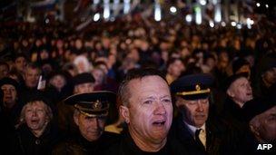 Pro-Russian Crimeans gather to celebrate in Simferopol's Lenin Square on 16 March 2014
