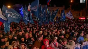 This is the scene in Lenin Square, Simferopol