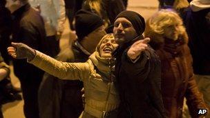 Pro-Russian people celebrate in Lenin Square, in Simferopol, Ukraine, on 16 March 2014.