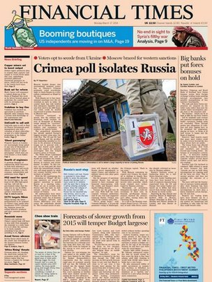 Front page of Monday's issue of Financial Times