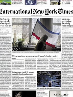 Front page of Monday's issue of International New York Times