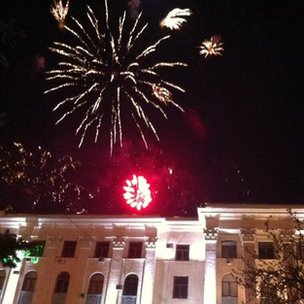 Fireworks in Simferopol to celebrate referendum result #Crimea.